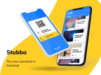 UI design for Stubba artistmichi designway event booking ticket float ios iphone yellow stubba app uidesign ui