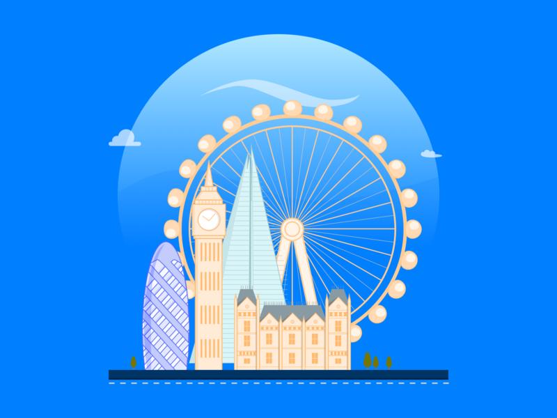 London illustration clouds sky flat minimal artistmichi designway commerce eye gherkin big ben ui design coming soon upcoming illustration london