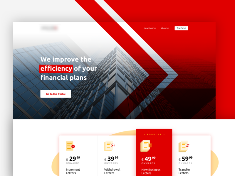 Home page of a paraplanning firm pricing landing hero finance red graphic white ui design designway artistmichi illustration vector minimal