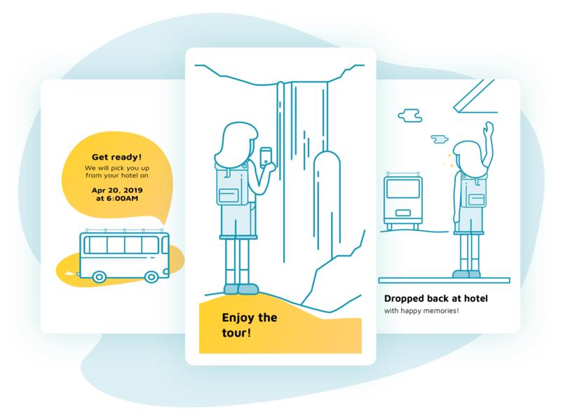 How it works Illustrations for Goa App typography graphic design artistmichi designway travel bus sketch app ui web design tourism goa goa app help how it works sketch vector illustration minimal