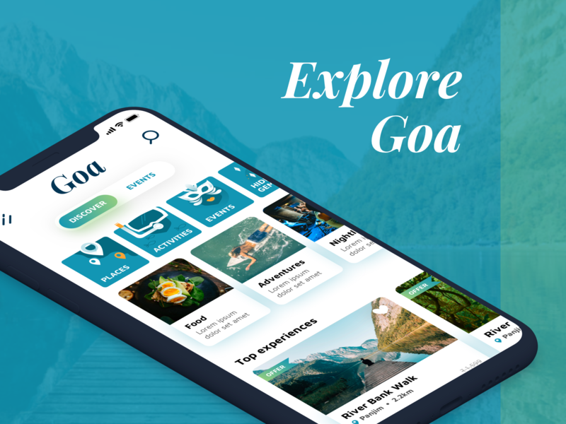 Home screen of Goa App vector ux branding typography ui designway design artistmichi green tourism travel illustration ui design app goa