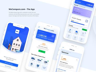 WeCompare App Designs wecompare mobile app illustration white typography minimal uiux uiuxdesign cover design home insurance cover compare artistmichi designway
