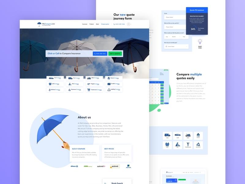 WeCompare - Home Page wecompare illustration white typography minimal uiux uiuxdesign cover design home insurance cover compare artistmichi designway