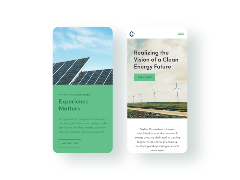 Skyline Renewables Website ui website craftcms green energy windmills renewable energy