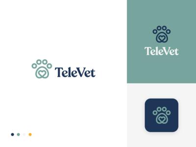 TeleVet Logo 3 branding illustration logo logo design