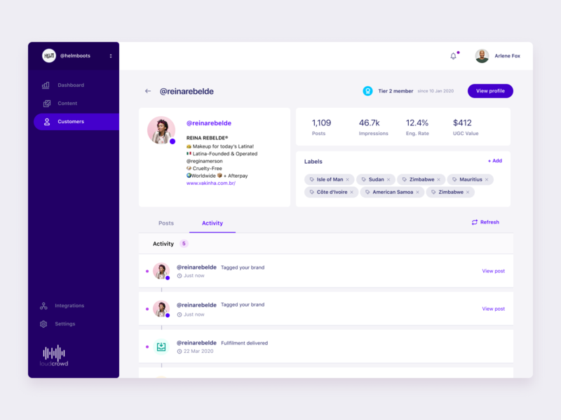 Customer page social media design dashboard ui ui