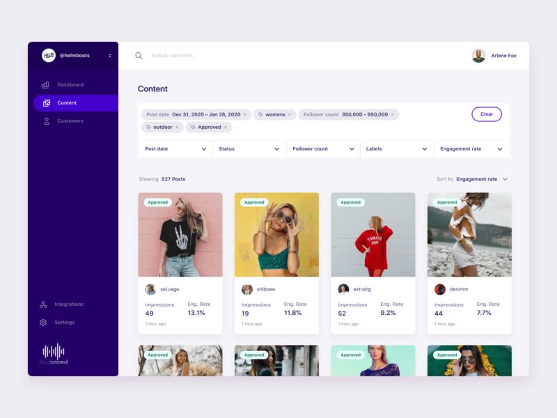 Content page search design ui