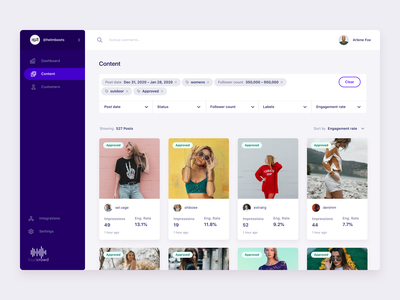 Content page search design ui