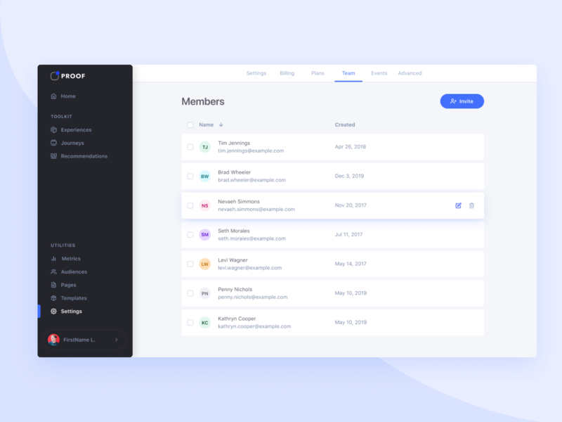 Team members invite saas design contacts list view table members
