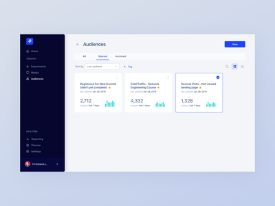 Dribbble Shot Audiences tables grid layout dashboard ui responsive