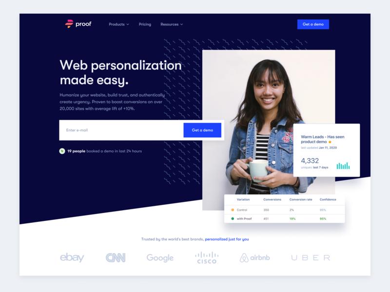 Proof Homepage home page design branding website