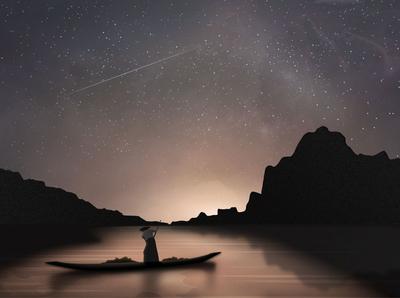 Fisherman at night