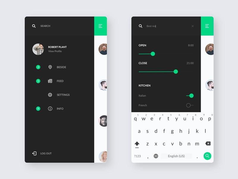 FindFood / Menu / Search ux ui mobile minimal ios food application app design