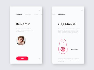 iTag / Device / Manual minimal concept fingerprint ux ui manual mobile ios design application app itag