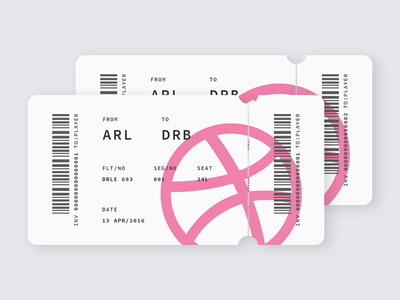 Two Dribbble Invites Giveaway draft free design typography ticket prospects invite invitation giveaway dribbble two