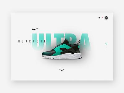Nike Air Huarache Ultra / Presentation page shoes clean sneakers minimal website ux ui design web huarache air nike