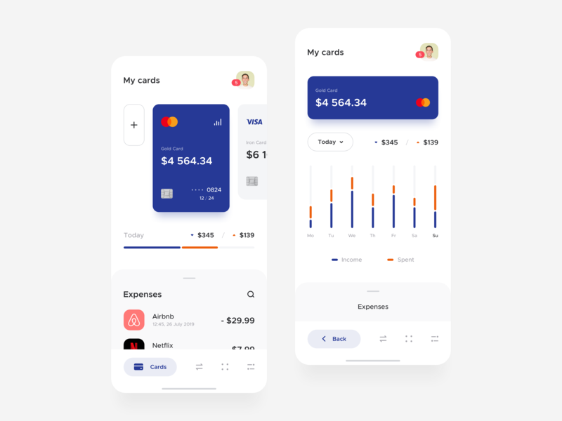 Banking app / Cards & Stats mobile design product minimal clean ios ux ui app payment finance cards bank app