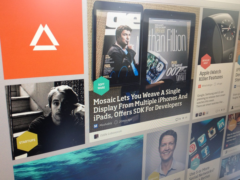 Prismatic News Feed Concept Redesign news colorfull grid regular grid startup ui ux user interface user experience concept redesign newsfeed