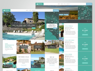 Windows on Tuscany website  ui ux user interface user experience green light blue properties real estate white grey squares square grid