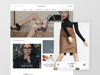 Fashionis Ecommerce italy rollover cart product listing website home startup fashion ecommerce