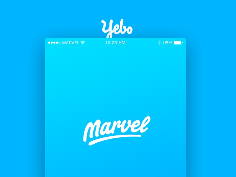 Yebo for Marvel gradient userinterface webdesign app ux yebo prototype blue comingsoon marvelapp marvel ui