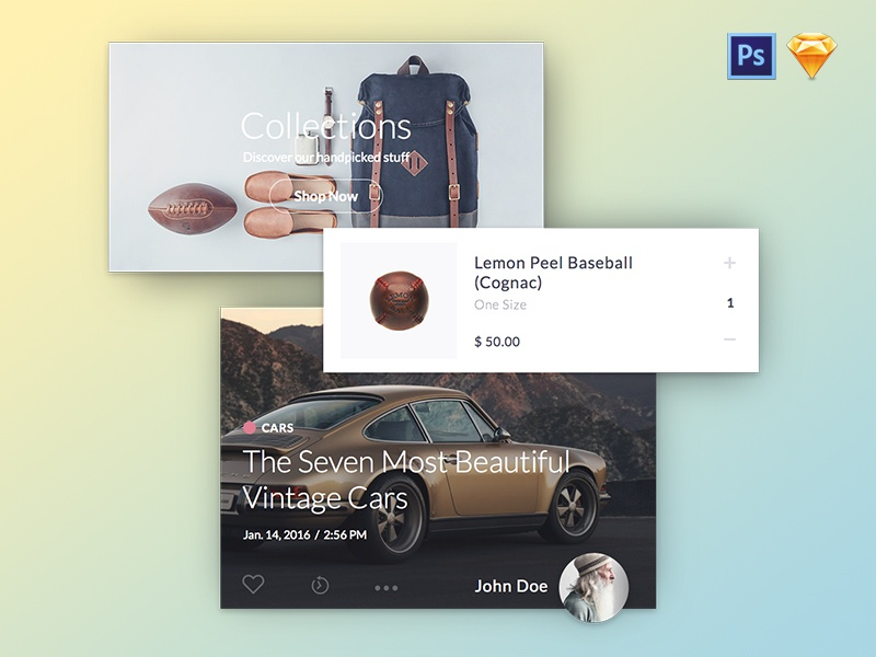 Kauf UI Kit Bundle. PS + Sketch user interface collections reader ecommerce kauf mobile uikit kit ui sketch photoshop template