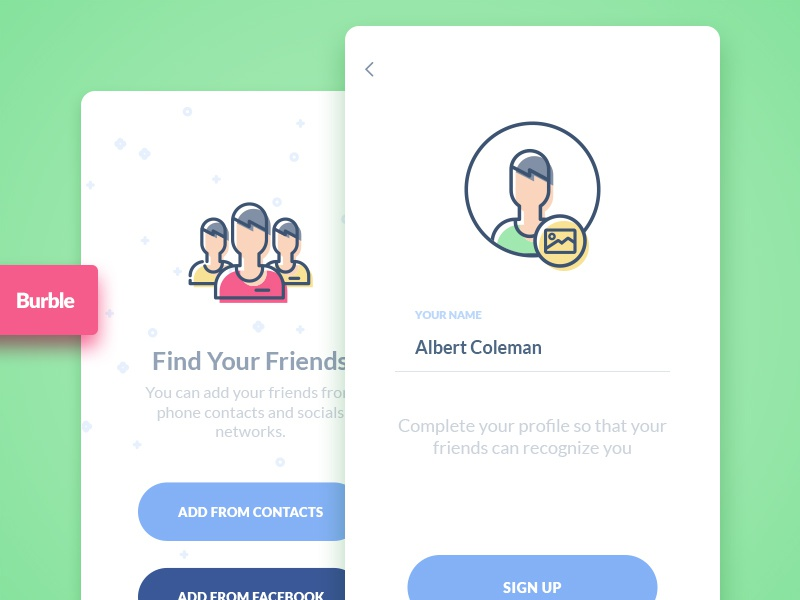 Burble Mobile Ui Kit - Sign Up signin signup interaction demo template mobile app material colorful fresh icon design chat