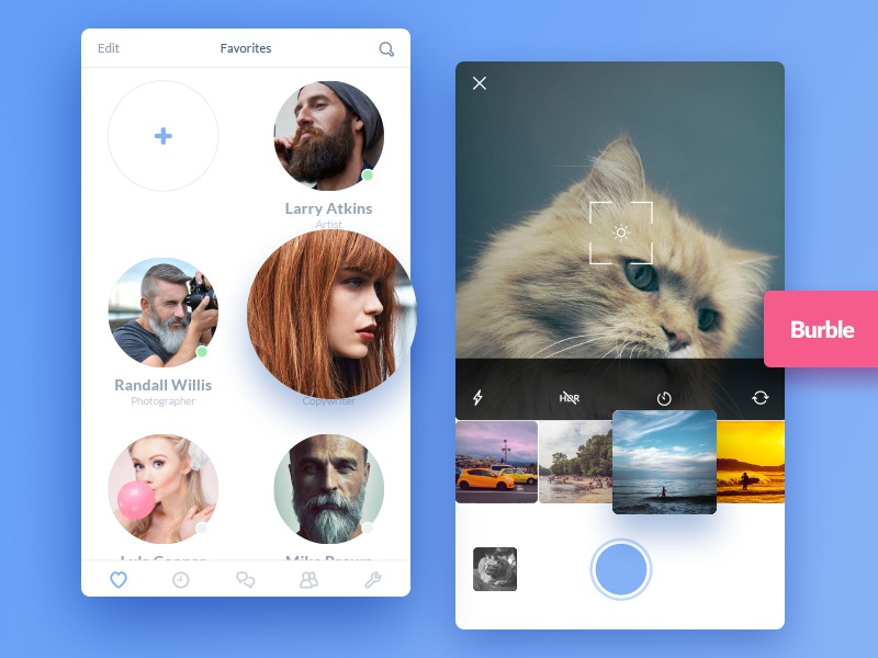 Burble Mobile Ui Kit avatar burble photo ios mobile app icon colorfull ui kit chat