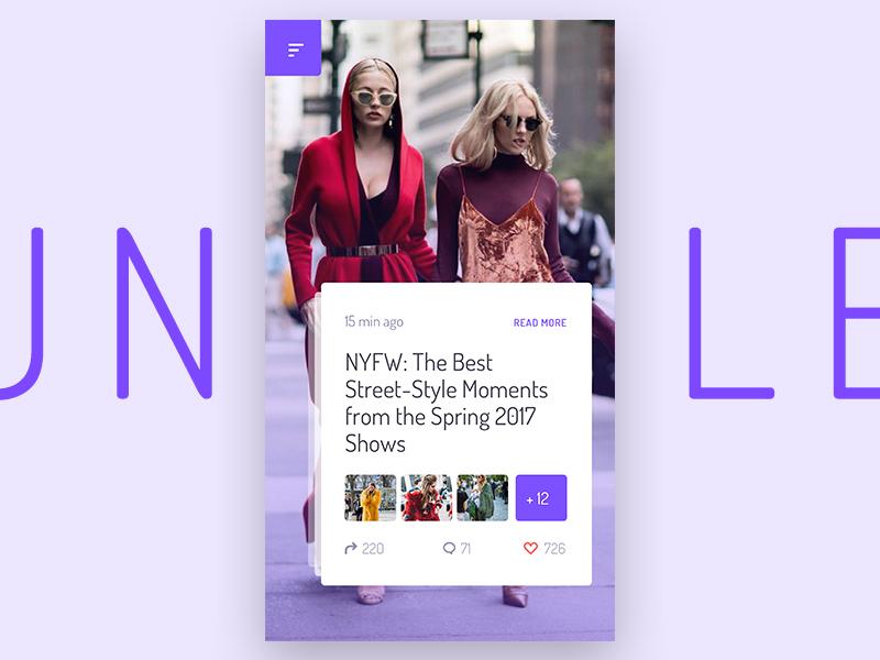 Unveile Preview social reader ecommerce template mobile vintage unveile app user interface sketch ui kit ui