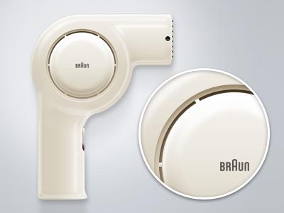 Braun Hairdryer NHD6 icon design vector photoshop icon braun illustration light reflections dieter rams