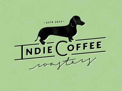 Indie Coffee Roasters Logo coffee logo dachshund dog logo dachshund logo brand identity dog identity coffee roasting roasting roast brew coffee brewing