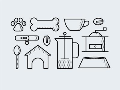 Indie Coffee Roasters Halftone Icon Set & Pattern