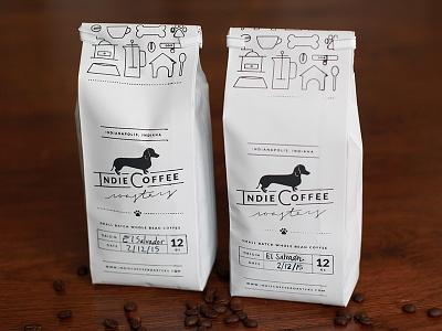 Indie Coffee Roasters Packaging Design coffee bag coffee packaging packaging dog icons dog coffee pattern icon pattern indie roast indie coffee coffee