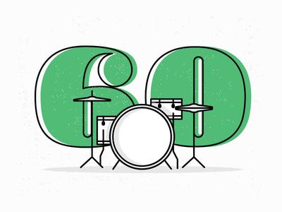 60th Birthday Party Invitation Illustration