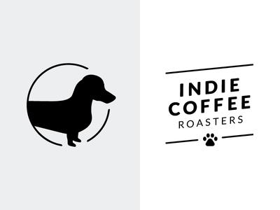 Indie Coffee Roasters Secondary Marks dog logo coffee roasting paw print coffee mark mark dachshund indie coffee roasters