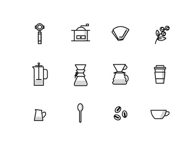 Coffee Icon Set for Indie Coffee Roasters coffee plant filter spoon coffee beans beans mug pour-over chemex french press halftone icon set coffee icons