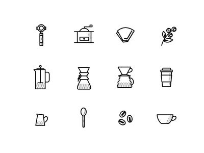 Coffee Icon Set for Indie Coffee Roasters