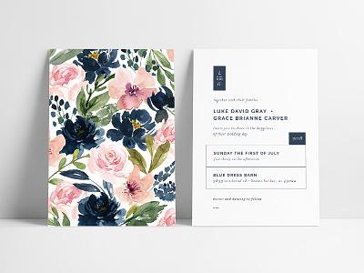 Modern + Romantic Wedding Invitation event lines michigan modern floral invitation wedding