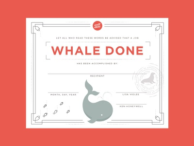 Whale Done Award Certificate honor award well done fish seal whale certificate