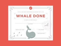 Whale Done Award Certificate
