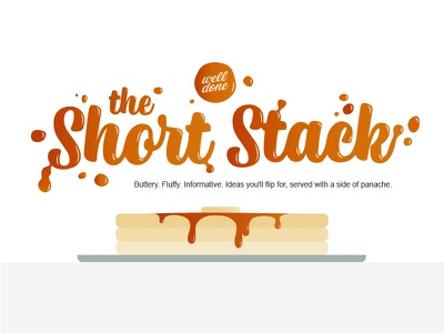 Short Stack Newsletter Graphic table plate short stack stack butter typography syrup pancakes