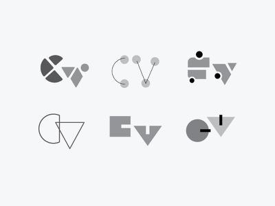 'CV' letter exploration logomark logo letterforms cv children whimsical typography letters