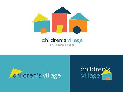 Children's Village Logo System daycare center logo system logo childcare house houses homes village children
