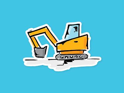 Construction Sticker Design machine handmade construction sticker illustration