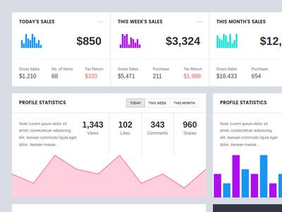 Dashboard Cards admin statistics charts blocks ui cards dashboard