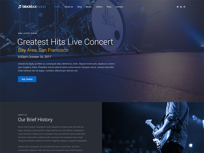 Band Template page home html5 landing template band