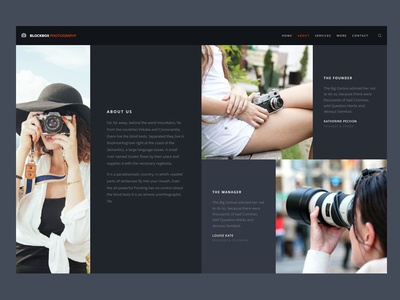 Photography About Us Template dark ui template photography aboutus