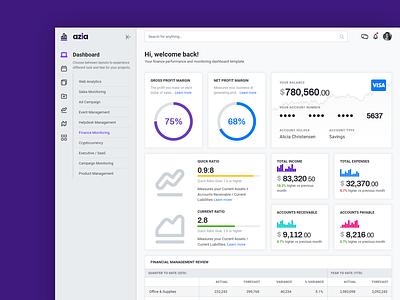 Finance Monitoring Dashboard cards navigation sidebar charts analytics dashboard analytics chart analytics html5 bootstrap4 bootstrap ux ui template admin dashboard
