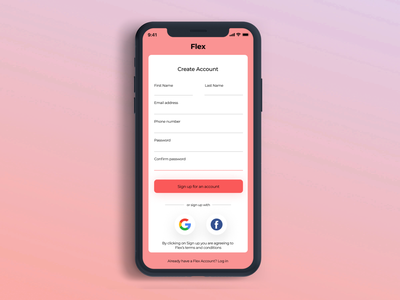 Sign up Screen iphone x daily 100 challenge dailyuichallenge dailyui sign up ui app design figma