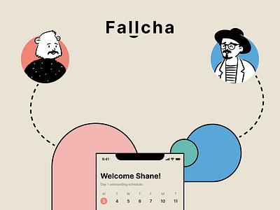 Fallcha — Ad II schedule onboarding calendar hr mobile ios abstract illustration branding logo design ui dublin ireland